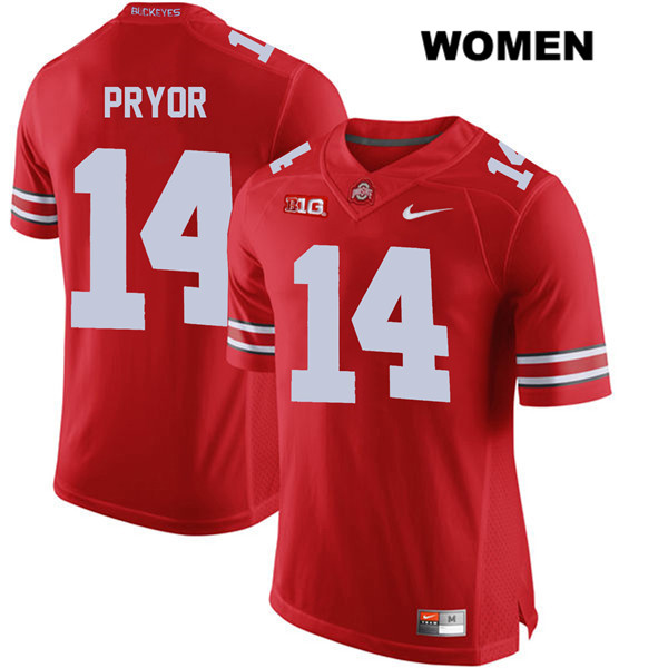 Isaiah Pryor Womens Stitched Red Ohio State Buckeyes Authentic Nike no. 14 College Football Jersey - Isaiah Pryor Jersey
