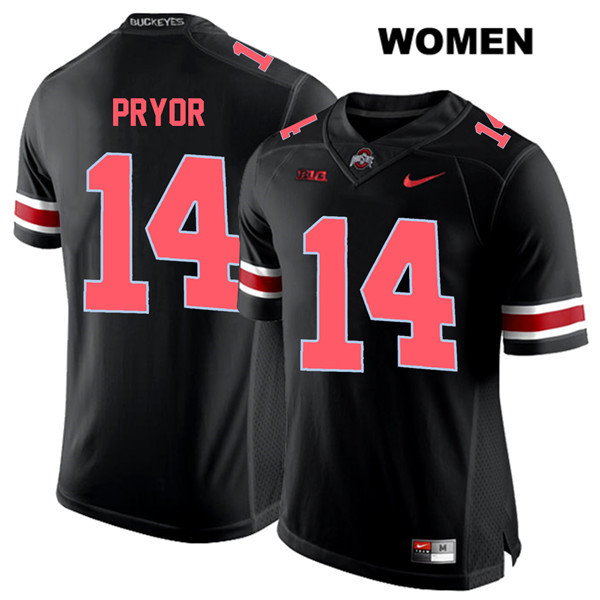 Isaiah Pryor Red Font Womens Black Nike Stitched Ohio State Buckeyes Authentic no. 14 College Football Jersey - Isaiah Pryor Jersey