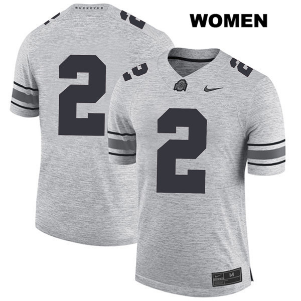 J.K. Dobbins Womens Nike Gray Ohio State Buckeyes Stitched Authentic no. 2 College Football Jersey - Without Name - J.K. Dobbins Jersey