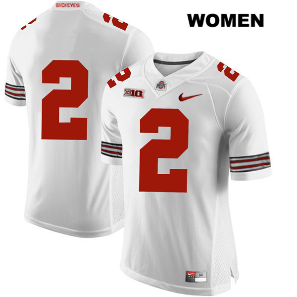 Stitched J.K. Dobbins Womens White Ohio State Buckeyes Authentic Nike no. 2 College Football Jersey - Without Name