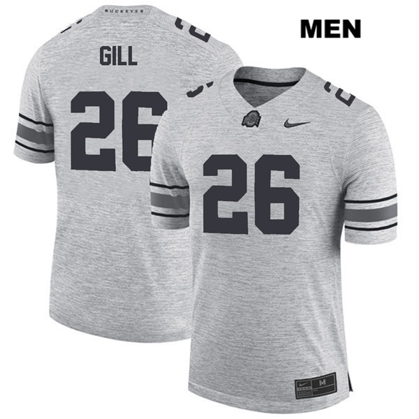 Jaelen Gill Mens Nike Gray Ohio State Buckeyes Stitched Authentic no. 26 College Football Jersey - Jaelen Gill Jersey
