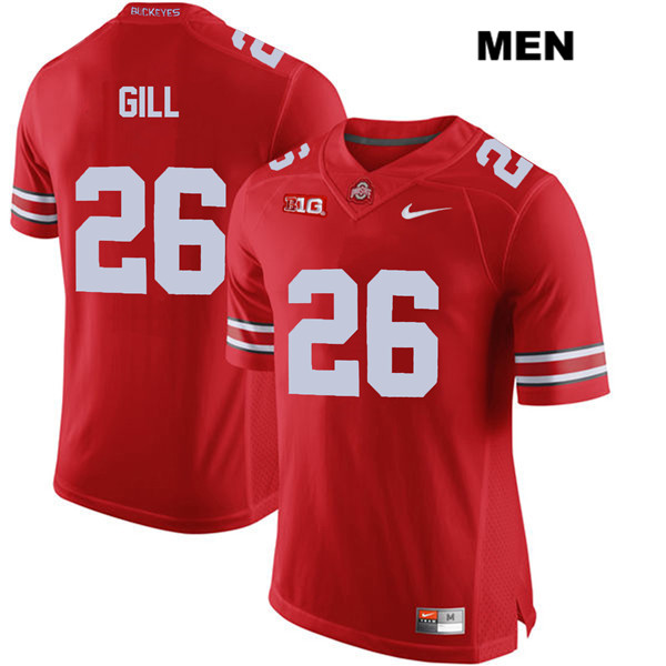 Jaelen Gill Mens Nike Red Ohio State Buckeyes Stitched Authentic no. 26 College Football Jersey - Jaelen Gill Jersey