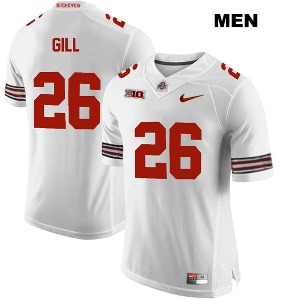 Jaelen Gill Mens White Stitched Ohio State Buckeyes Authentic Nike no. 26 College Football Jersey - Jaelen Gill Jersey