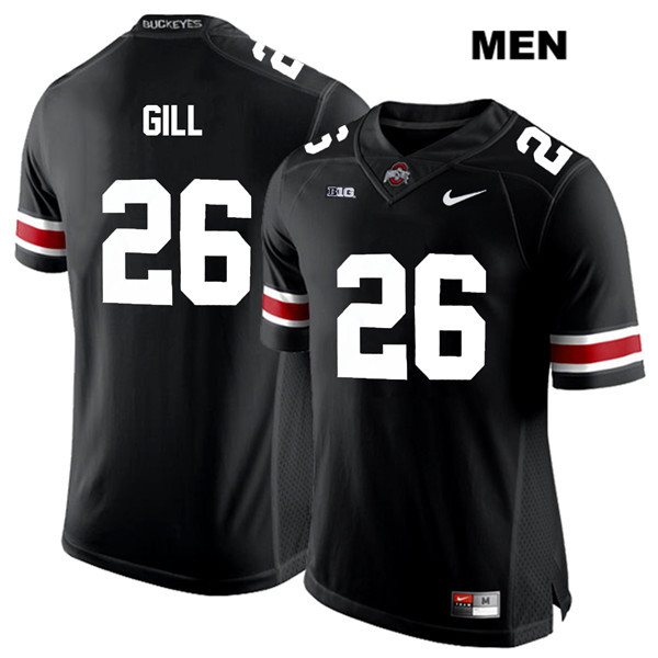 Jaelen Gill Mens Nike Black White Font Ohio State Buckeyes Authentic Stitched no. 26 College Football Jersey - Jaelen Gill Jersey