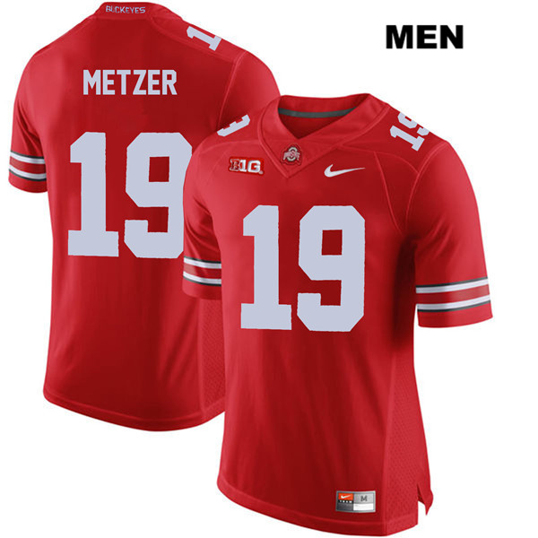 Jake Metzer Stitched Mens Red Nike Ohio State Buckeyes Authentic no. 19 College Football Jersey - Jake Metzer Jersey