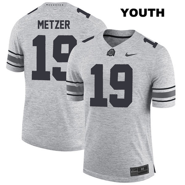 Jake Metzer Nike Youth Gray Stitched Ohio State Buckeyes Authentic no. 19 College Football Jersey - Jake Metzer Jersey