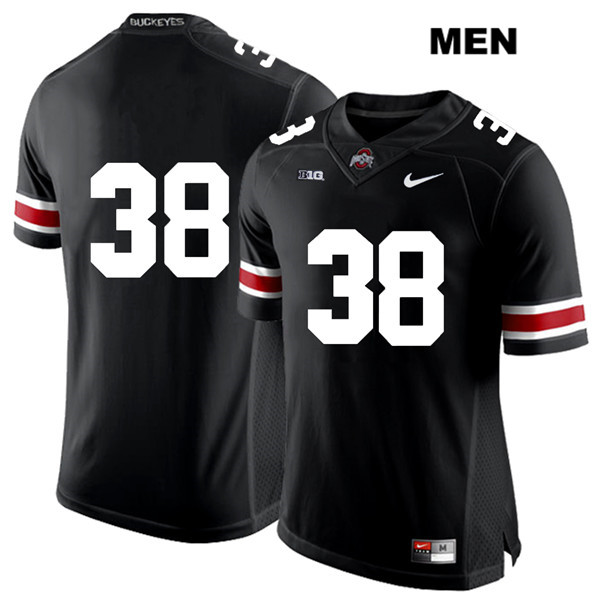 Javontae Jean-Baptiste Mens Nike Black Ohio State Buckeyes Stitched White Font Authentic no. 38 College Football Jersey - Without Name - Javontae Jean-Baptiste Jersey