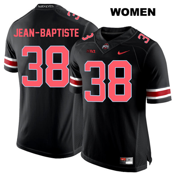 Javontae Jean-Baptiste Red Font Womens Nike Black Stitched Ohio State Buckeyes Authentic no. 38 College Football Jersey - Javontae Jean-Baptiste Jersey