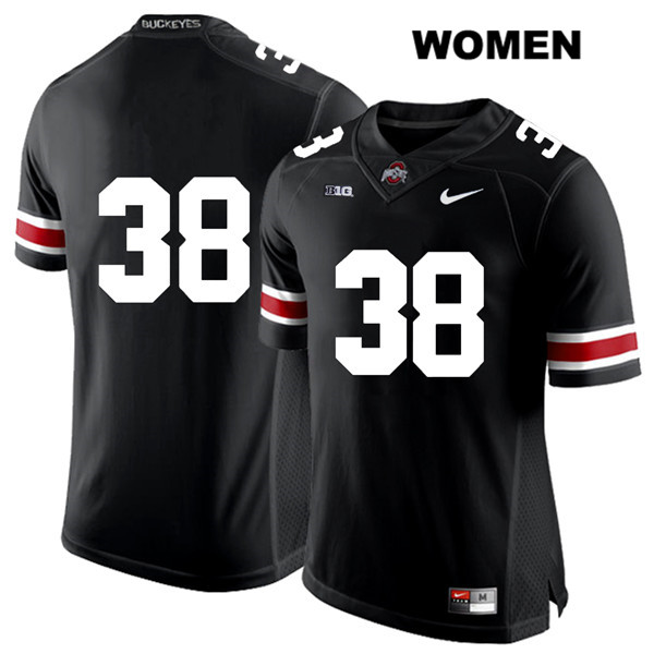 Javontae Jean-Baptiste Womens Stitched Black Nike Ohio State Buckeyes White Font Authentic no. 38 College Football Jersey - Without Name - Javontae Jean-Baptiste Jersey