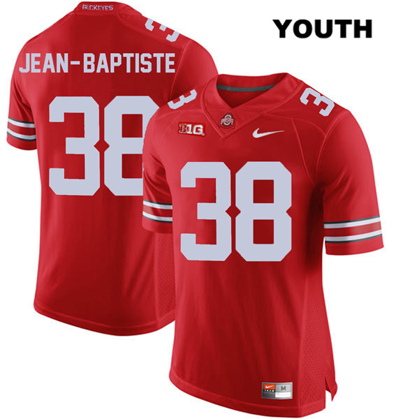 Javontae Jean-Baptiste Youth Red Stitched Ohio State Buckeyes Nike Authentic no. 38 College Football Jersey - Javontae Jean-Baptiste Jersey