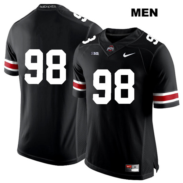 Jerron Cage Mens Nike Black White Font Ohio State Buckeyes Stitched Authentic no. 98 College Football Jersey - Without Name - Jerron Cage Jersey