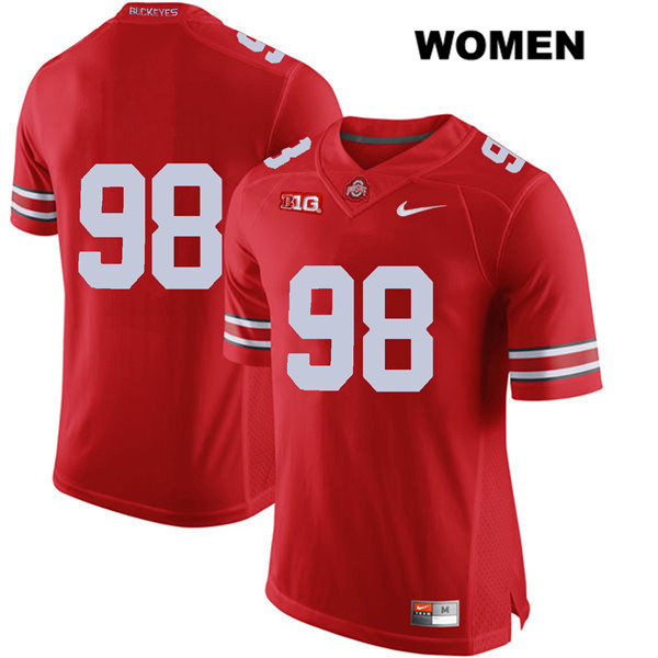 Jerron Cage Nike Stitched Womens Red Ohio State Buckeyes Authentic no. 98 College Football Jersey - Without Name - Jerron Cage Jersey
