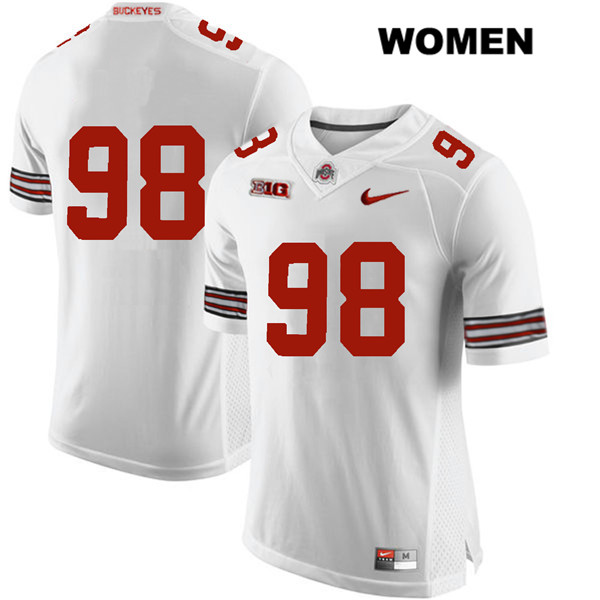 Jerron Cage Womens White Stitched Ohio State Buckeyes Nike Authentic no. 98 College Football Jersey - Without Name - Jerron Cage Jersey