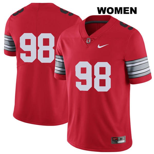 Jerron Cage Stitched Womens Red Nike Ohio State Buckeyes 2018 Spring Game Authentic no. 98 College Football Jersey - Without Name - Jerron Cage Jersey