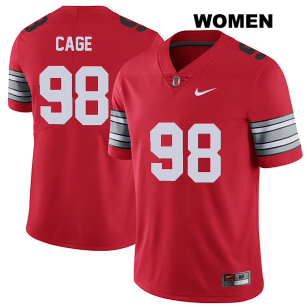 2018 Spring Game Jerron Cage Stitched Womens Red Nike Ohio State Buckeyes Authentic no. 98 College Football Jersey - Jerron Cage Jersey