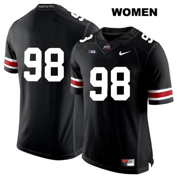 Jerron Cage Womens Stitched Black White Font Ohio State Buckeyes Nike Authentic no. 98 College Football Jersey - Without Name - Jerron Cage Jersey