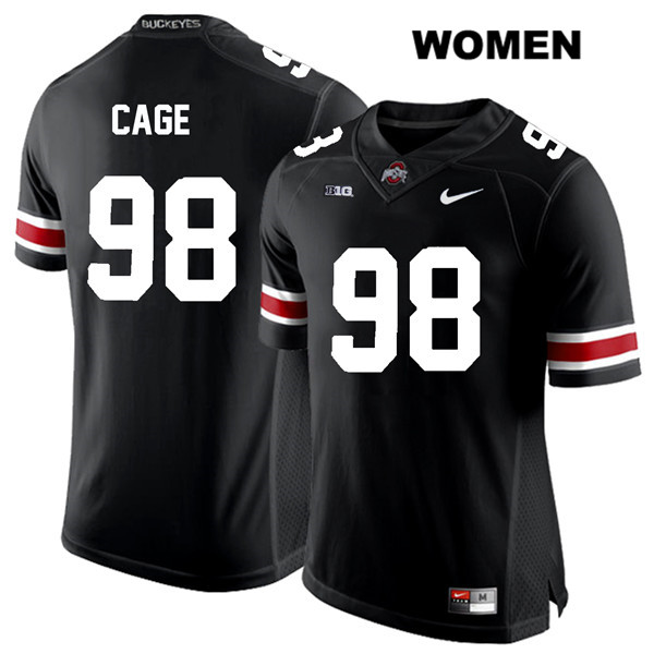 Jerron Cage Stitched Womens White Font Black Nike Ohio State Buckeyes Authentic no. 98 College Football Jersey - Jerron Cage Jersey
