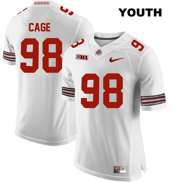 Jerron Cage Youth Stitched White Ohio State Buckeyes Authentic Nike no. 98 College Football Jersey - Jerron Cage Jersey