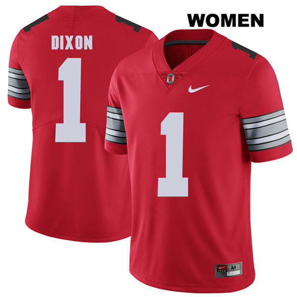 Johnnie Dixon 2018 Spring Game Womens Red Nike Ohio State Buckeyes Stitched Authentic no. 1 College Football Jersey - Johnnie Dixon Jersey