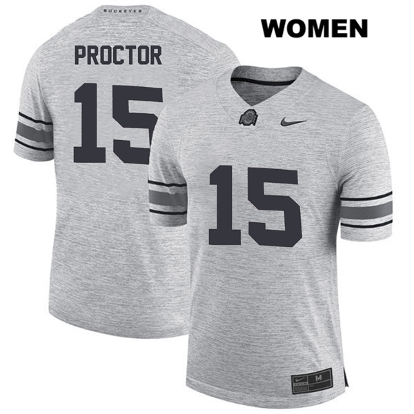 Josh Proctor Womens Stitched Nike Gray Ohio State Buckeyes Authentic no. 15 College Football Jersey - Josh Proctor Jersey