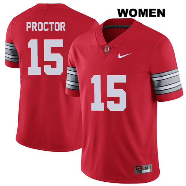 Josh Proctor Womens Nike Red Stitched Ohio State Buckeyes Authentic 2018 Spring Game no. 15 College Football Jersey - Josh Proctor Jersey