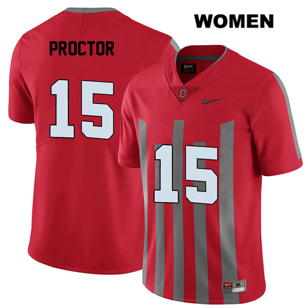 Josh Proctor Stitched Womens Red Nike Ohio State Buckeyes Elite Authentic no. 15 College Football Jersey - Josh Proctor Jersey