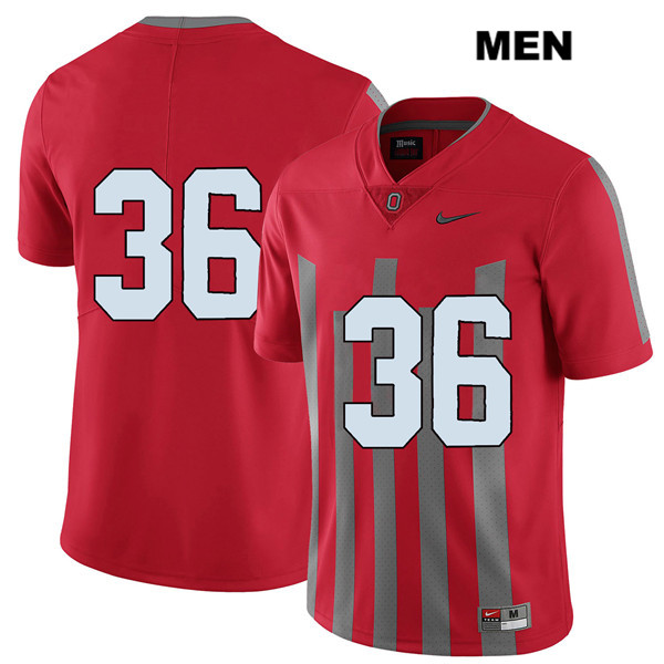 Elite K'Vaughan Pope Mens Red Nike Ohio State Buckeyes Stitched Authentic no. 36 College Football Jersey - Without Name - K'Vaughan Pope Jersey