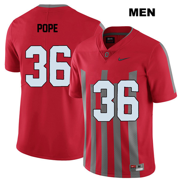 Elite K'Vaughan Pope Mens Nike Red Stitched Ohio State Buckeyes Authentic no. 36 College Football Jersey - K'Vaughan Pope Jersey