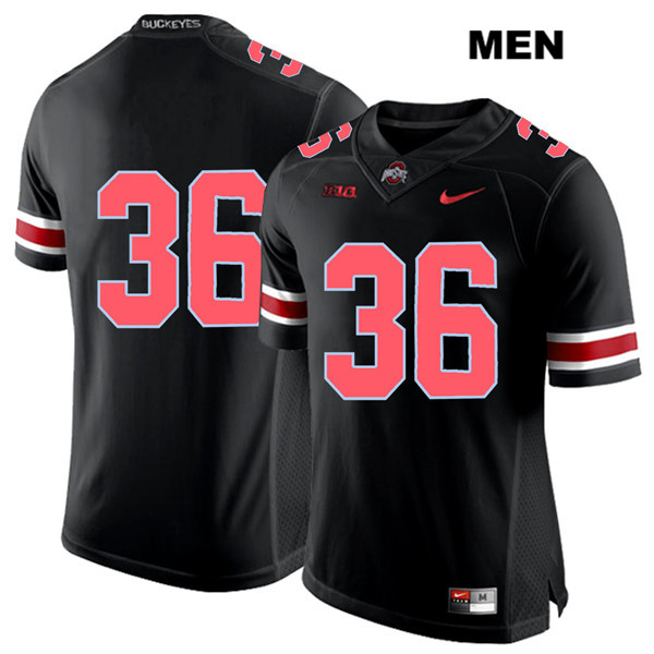 K'Vaughan Pope Stitched Mens Nike Black Ohio State Buckeyes Red Font Authentic no. 36 College Football Jersey - Without Name - K'Vaughan Pope Jersey