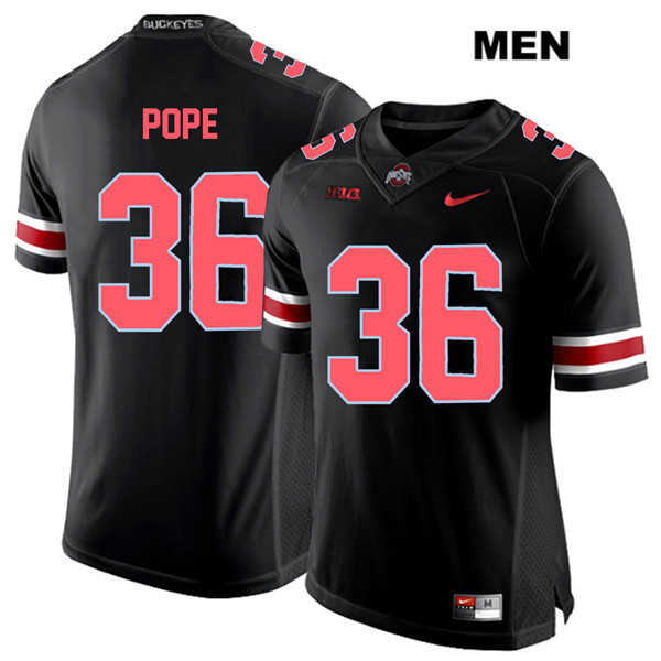 K'Vaughan Pope Mens Stitched Nike Black Red Font Ohio State Buckeyes Authentic no. 36 College Football Jersey - K'Vaughan Pope Jersey