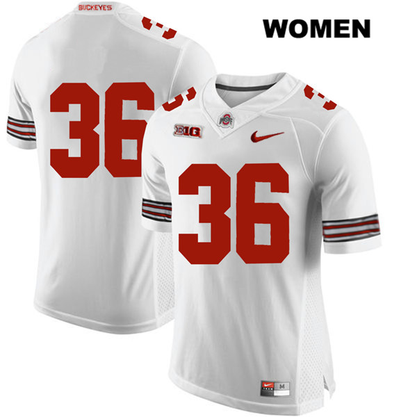 K'Vaughan Pope Stitched Womens White Nike Ohio State Buckeyes Authentic no. 36 College Football Jersey - Without Name - K'Vaughan Pope Jersey
