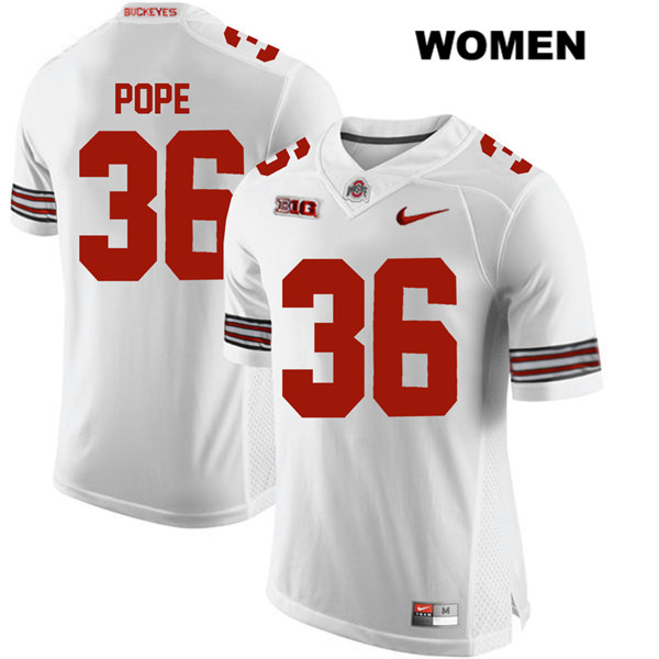 K'Vaughan Pope Stitched Womens Nike White Ohio State Buckeyes Authentic no. 36 College Football Jersey - K'Vaughan Pope Jersey