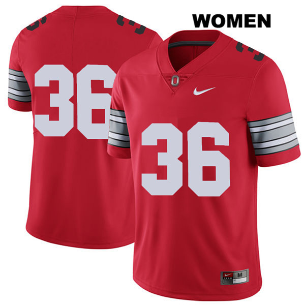 K'Vaughan Pope 2018 Spring Game Womens Red Ohio State Buckeyes Nike Authentic Stitched no. 36 College Football Jersey - Without Name - K'Vaughan Pope Jersey
