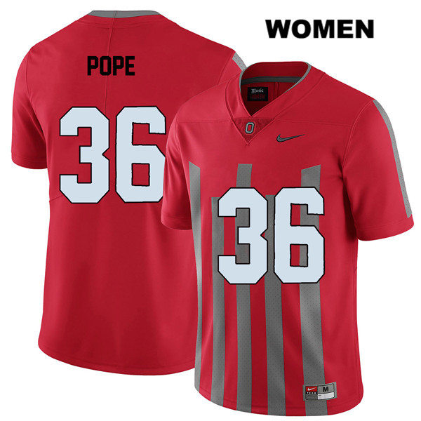 K'Vaughan Pope Nike Womens Elite Red Stitched Ohio State Buckeyes Authentic no. 36 College Football Jersey - K'Vaughan Pope Jersey