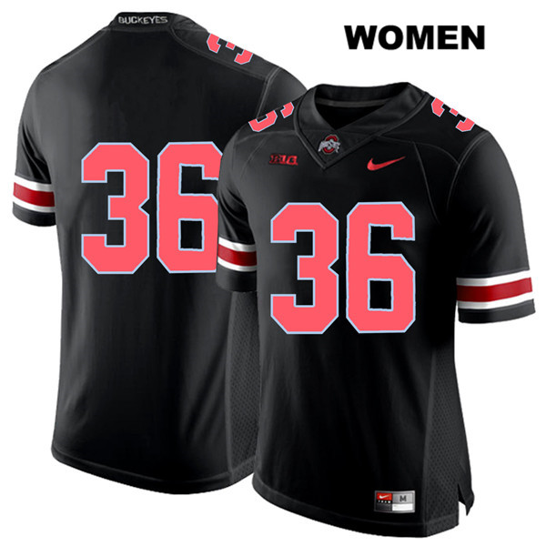 K'Vaughan Pope Red Font Womens Stitched Black Ohio State Buckeyes Authentic Nike no. 36 College Football Jersey - Without Name - K'Vaughan Pope Jersey
