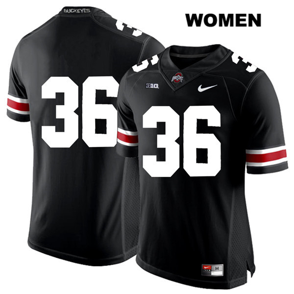 K'Vaughan Pope Stitched Womens Nike Black Ohio State Buckeyes White Font Authentic no. 36 College Football Jersey - Without Name - K'Vaughan Pope Jersey