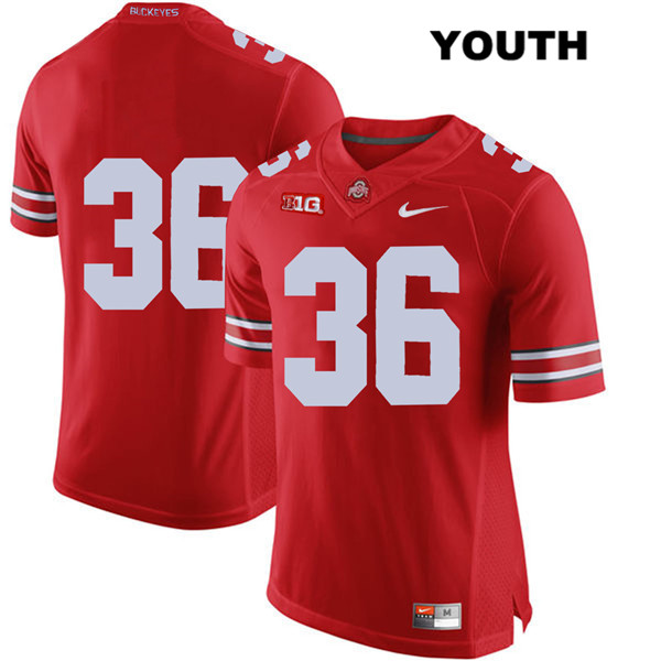 K'Vaughan Pope Youth Red Ohio State Buckeyes Authentic Nike Stitched no. 36 College Football Jersey - Without Name - K'Vaughan Pope Jersey