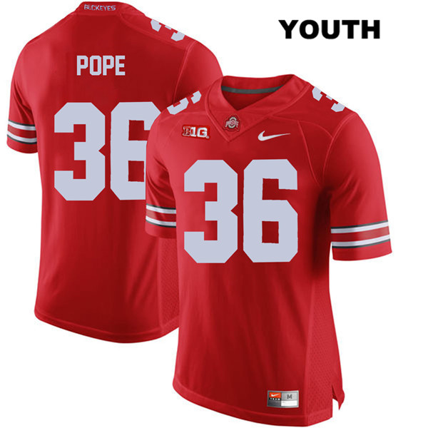 K'Vaughan Pope Stitched Youth Red Ohio State Buckeyes Nike Authentic no. 36 College Football Jersey - K'Vaughan Pope Jersey