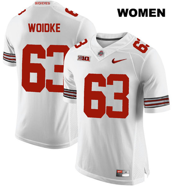 Kevin Woidke Stitched Womens White Ohio State Buckeyes Nike Authentic no. 63 College Football Jersey