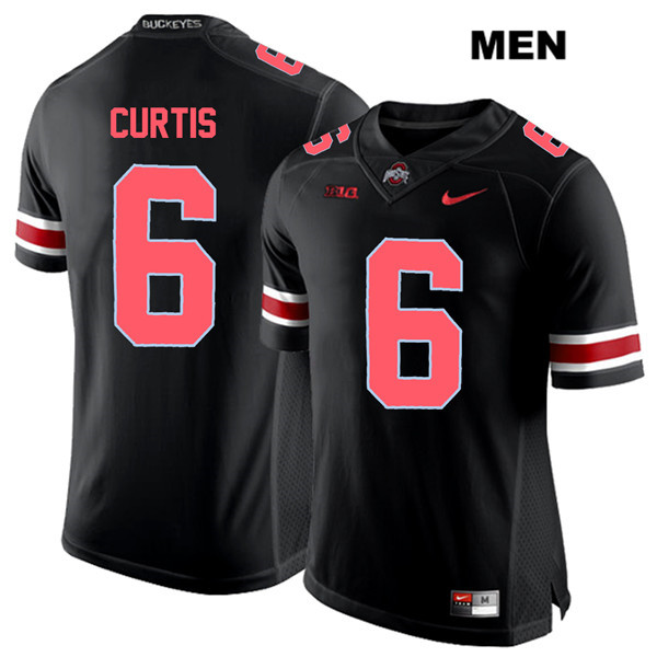 Kory Curtis Mens Stitched Red Font Black Nike Ohio State Buckeyes Authentic no. 6 College Football Jersey - Kory Curtis Jersey