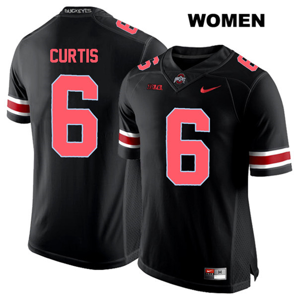 Kory Curtis Womens Nike Black Red Font Ohio State Buckeyes Stitched Authentic no. 6 College Football Jersey - Kory Curtis Jersey