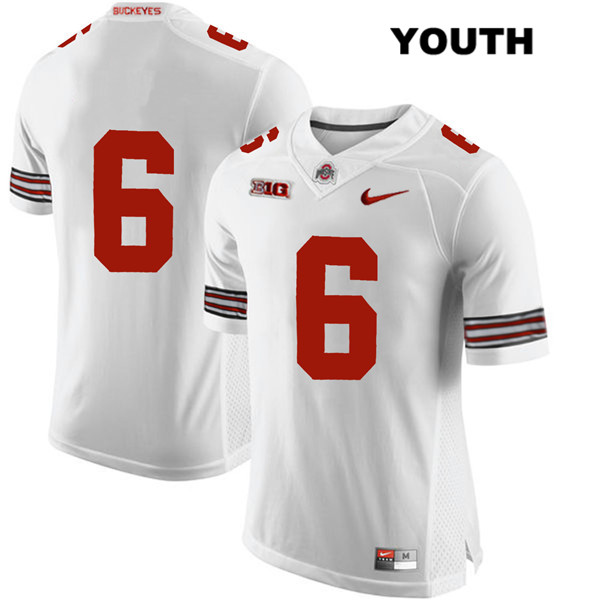 Kory Curtis Stitched Youth Nike White Ohio State Buckeyes Authentic no. 6 College Football Jersey - Without Name - Kory Curtis Jersey
