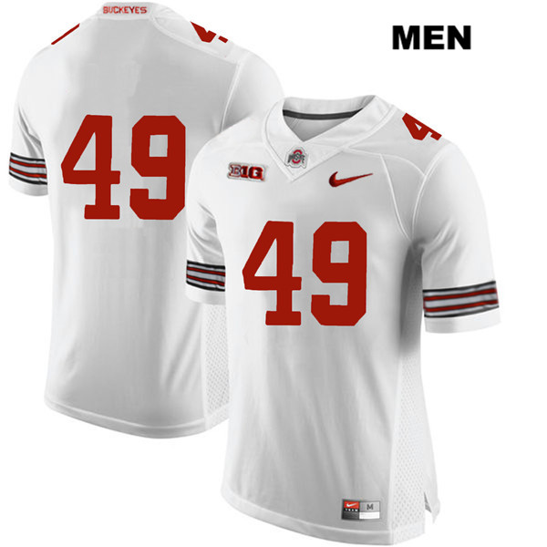 Liam McCullough Stitched Mens Nike White Ohio State Buckeyes Authentic no. 49 College Football Jersey - Without Name - Liam McCullough Jersey