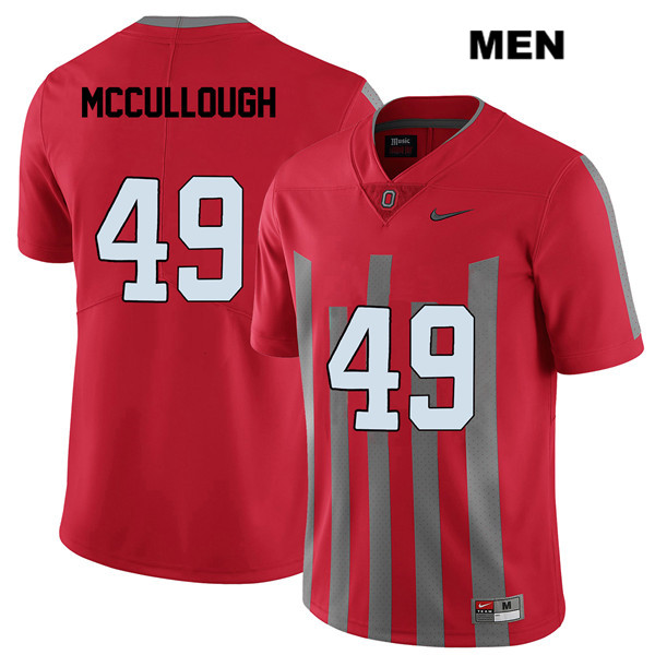 Liam McCullough Stitched Mens Red Nike Ohio State Buckeyes Authentic Elite no. 49 College Football Jersey - Liam McCullough Jersey