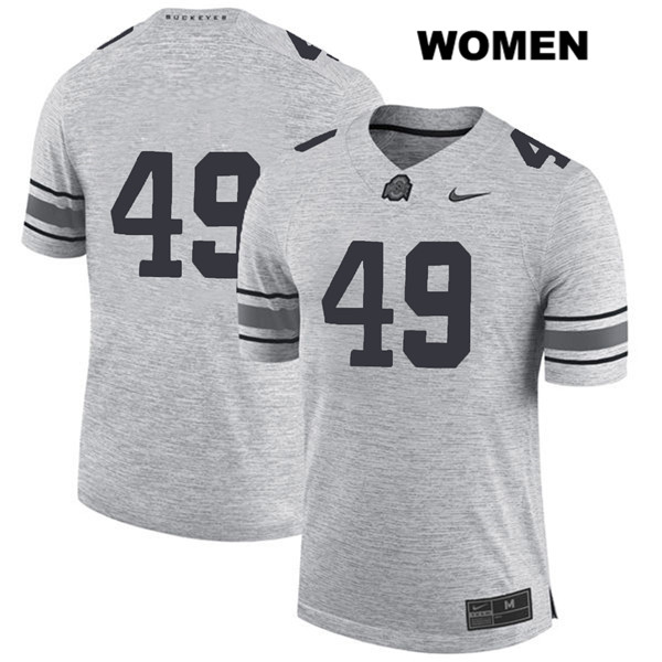Liam McCullough Womens Gray Ohio State Buckeyes Stitched Authentic Nike no. 49 College Football Jersey - Without Name - Liam McCullough Jersey