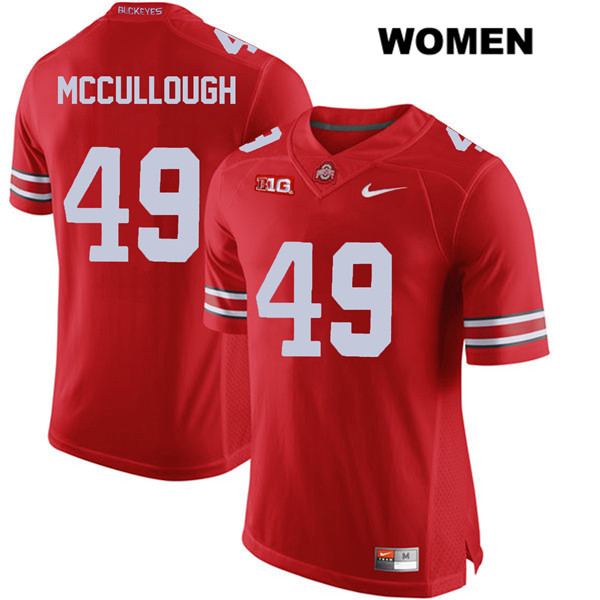 Liam McCullough Nike Womens Stitched Red Ohio State Buckeyes Authentic no. 49 College Football Jersey - Liam McCullough Jersey
