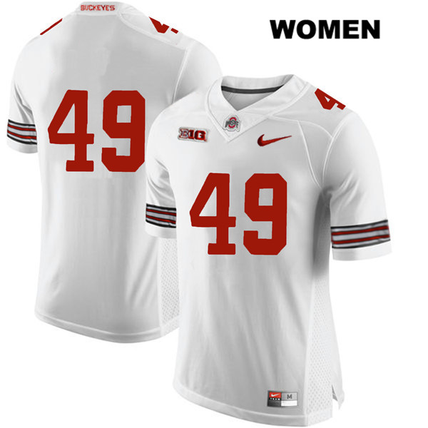 Liam McCullough Womens Stitched White Ohio State Buckeyes Authentic Nike no. 49 College Football Jersey - Without Name - Liam McCullough Jersey