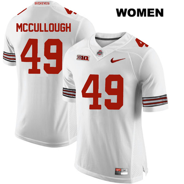 Liam McCullough Womens White Nike Ohio State Buckeyes Stitched Authentic no. 49 College Football Jersey - Liam McCullough Jersey