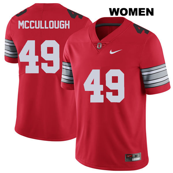 Liam McCullough Stitched Nike Womens Red 2018 Spring Game Ohio State Buckeyes Authentic no. 49 College Football Jersey - Liam McCullough Jersey