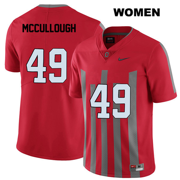 Liam McCullough Stitched Womens Red Ohio State Buckeyes Authentic Elite Nike no. 49 College Football Jersey - Liam McCullough Jersey
